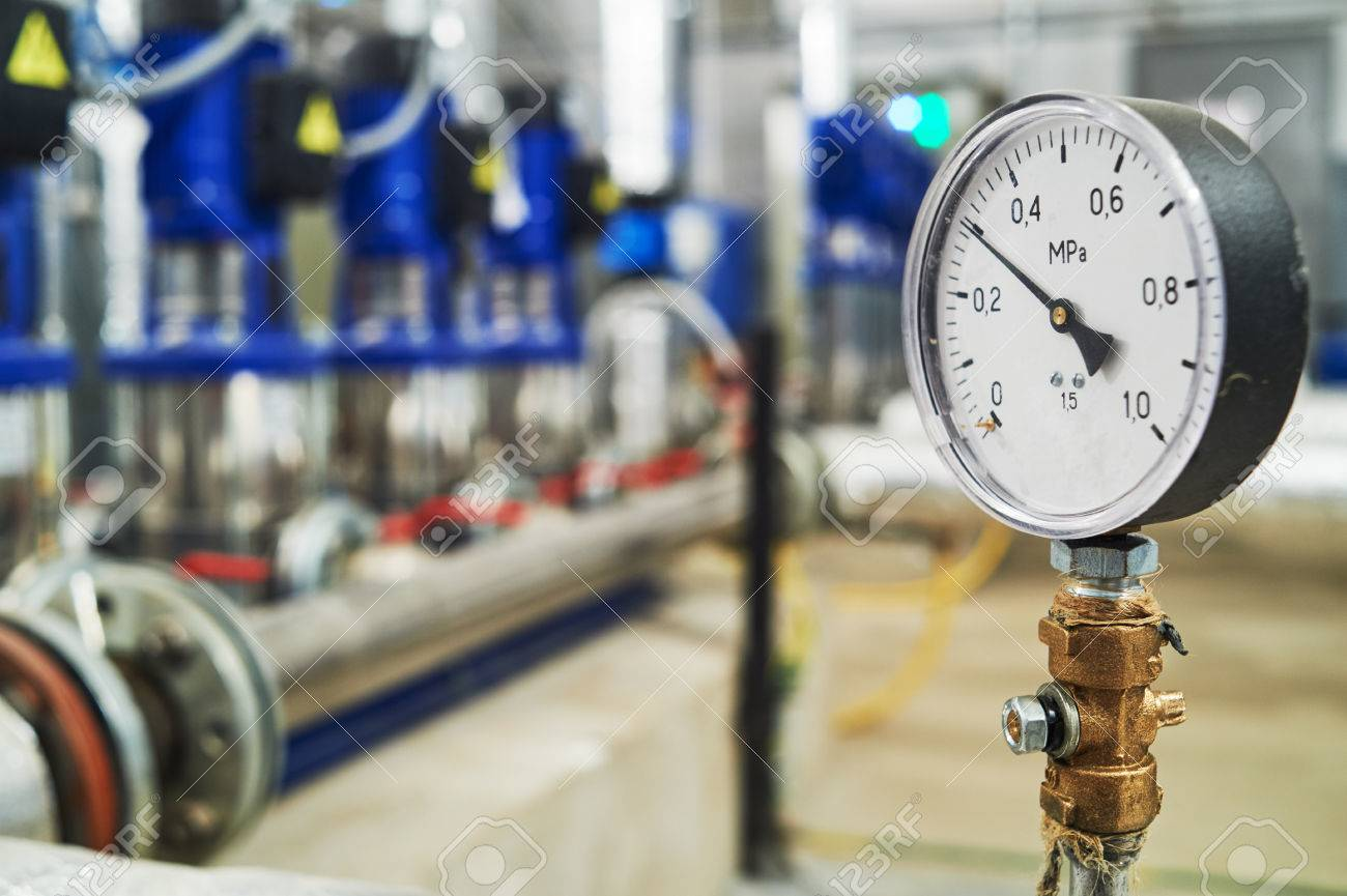 manometer pipes and valve in water pump station - 87813109