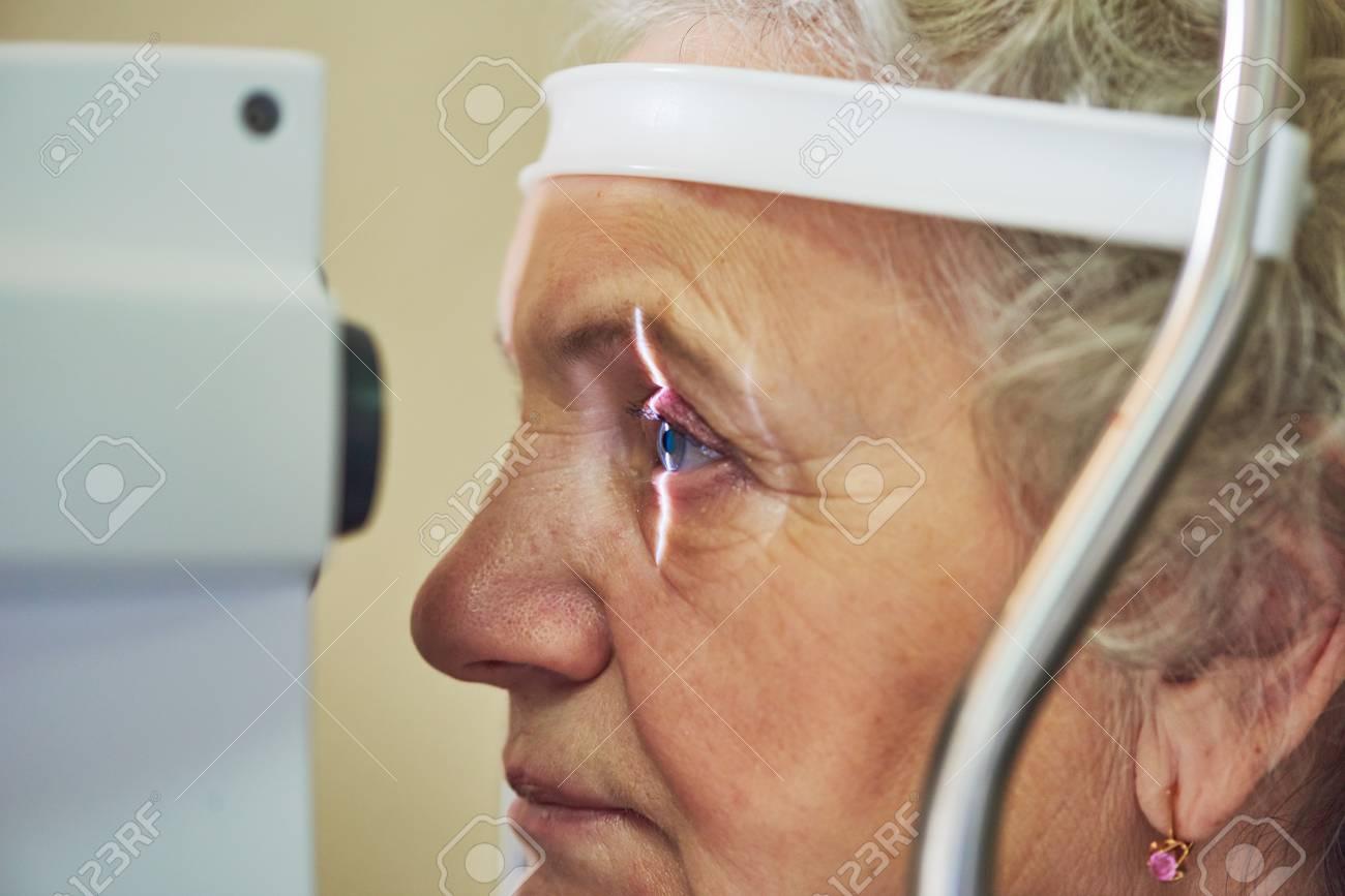 ophthalmology. eyesight check of adult female woman - 92553887
