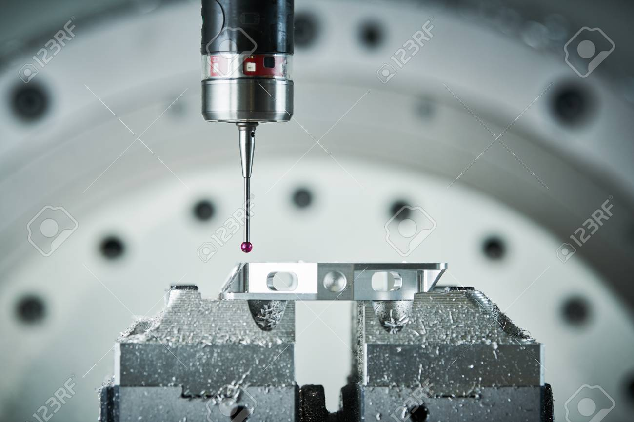 Quality control on milling CNC machine. Precision probe sensor at industrial metalworking - 99510522