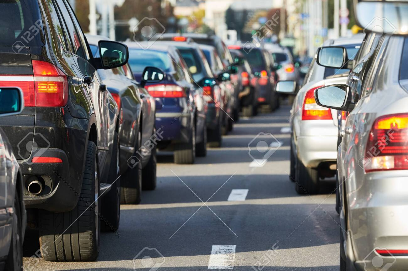 traffic jam or automobile collapse in a city street road - 131856449