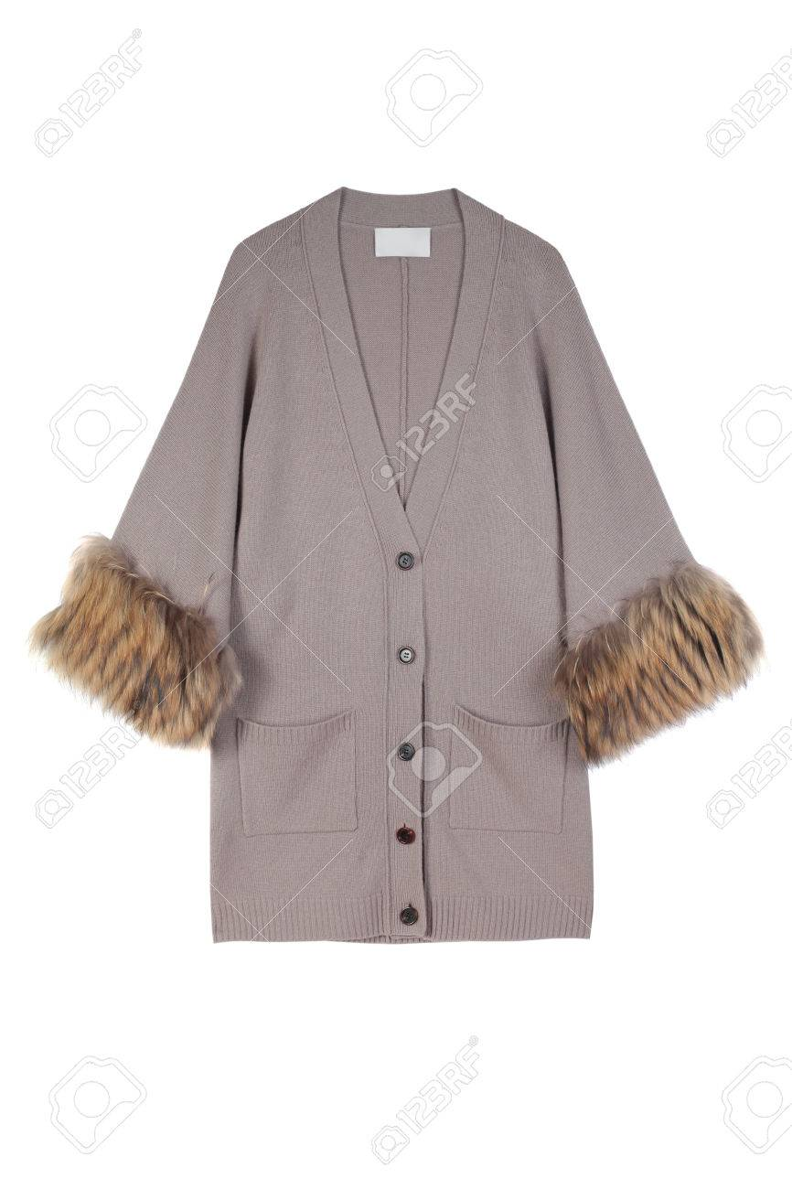 13c42bbcc8f6 Luxury Grey Or Beige Women Cardigan Decorated With Natural Fur ...