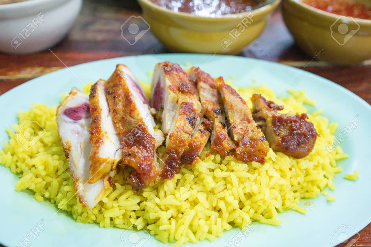 Muslim yellow rice with roasted chicken (Khao Mok Gai) , traditional