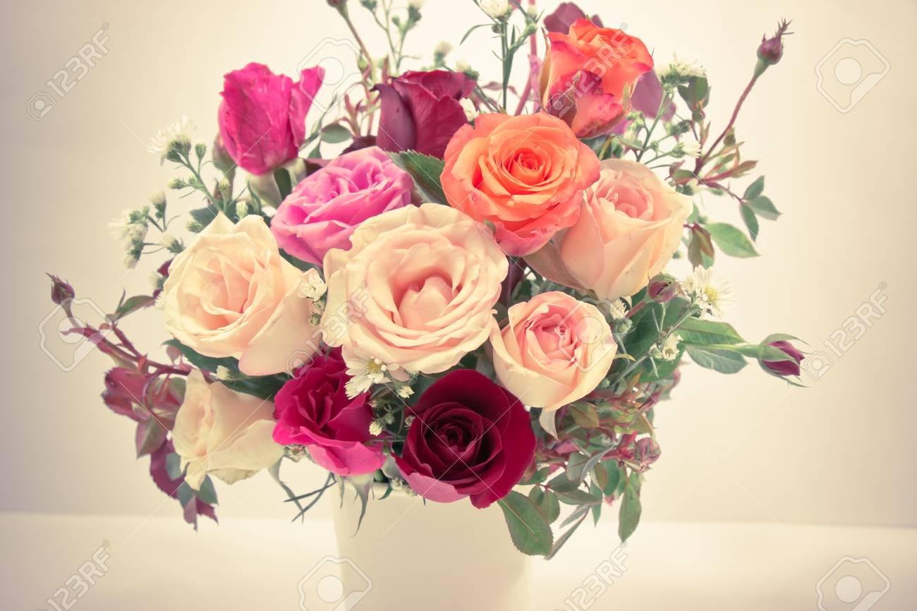 Vase of roses bouquet on white background set of beautiful flower stock photo vase of roses bouquet on white background set of beautiful flower valentine concept izmirmasajfo