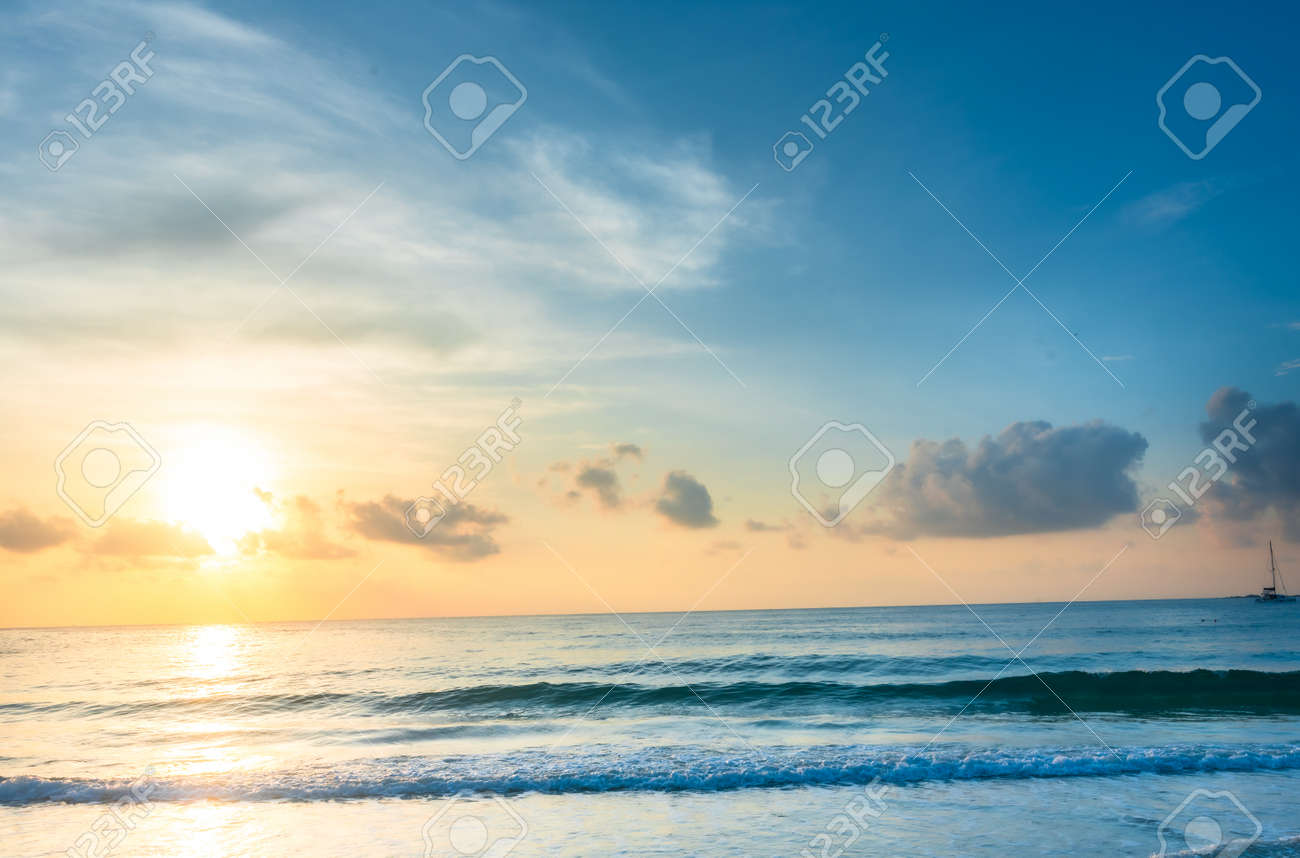 Beautiful Asian sea view, sea sand floor, sand on the beach as background.Background image - 169470202
