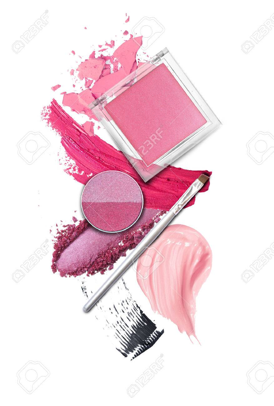 Brush and cosmetic elements on white - 50796104