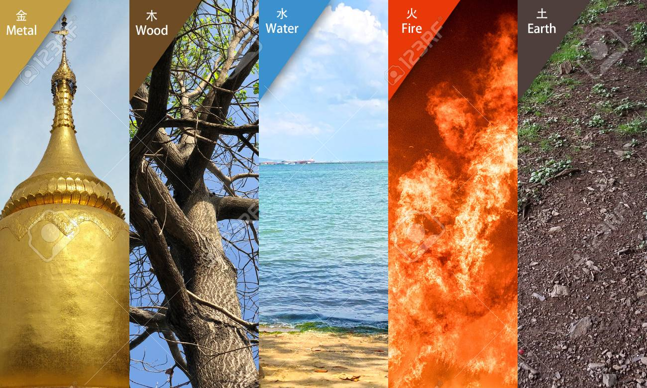 collage feng shui. collage of fengshui 5 elements : metal, wood, water, fire, earth stock feng shui
