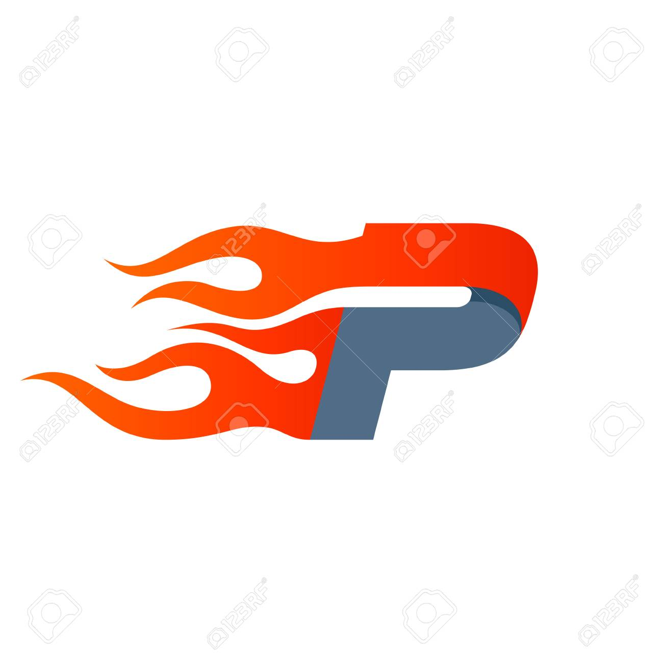 Letter P Design Template Fast Fire Speed Vector Unusual Letter
