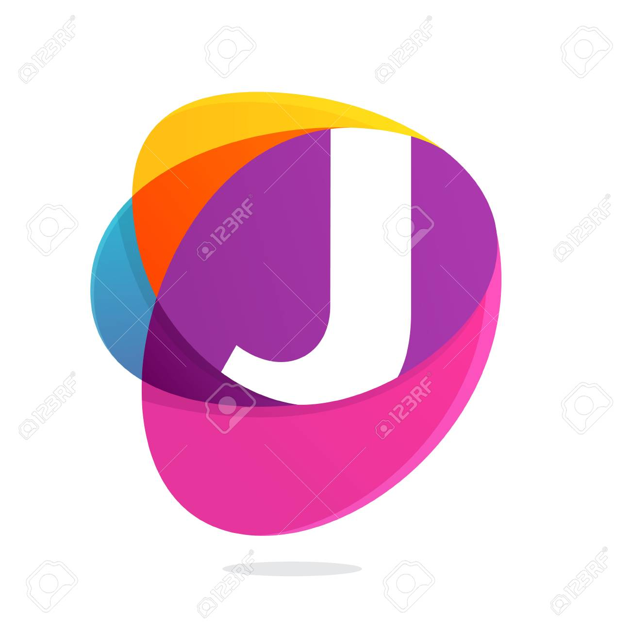 J letter with ellipses intersection logo. Abstract trendy multicolored vector design template elements for your application or corporate identity. - 95603899