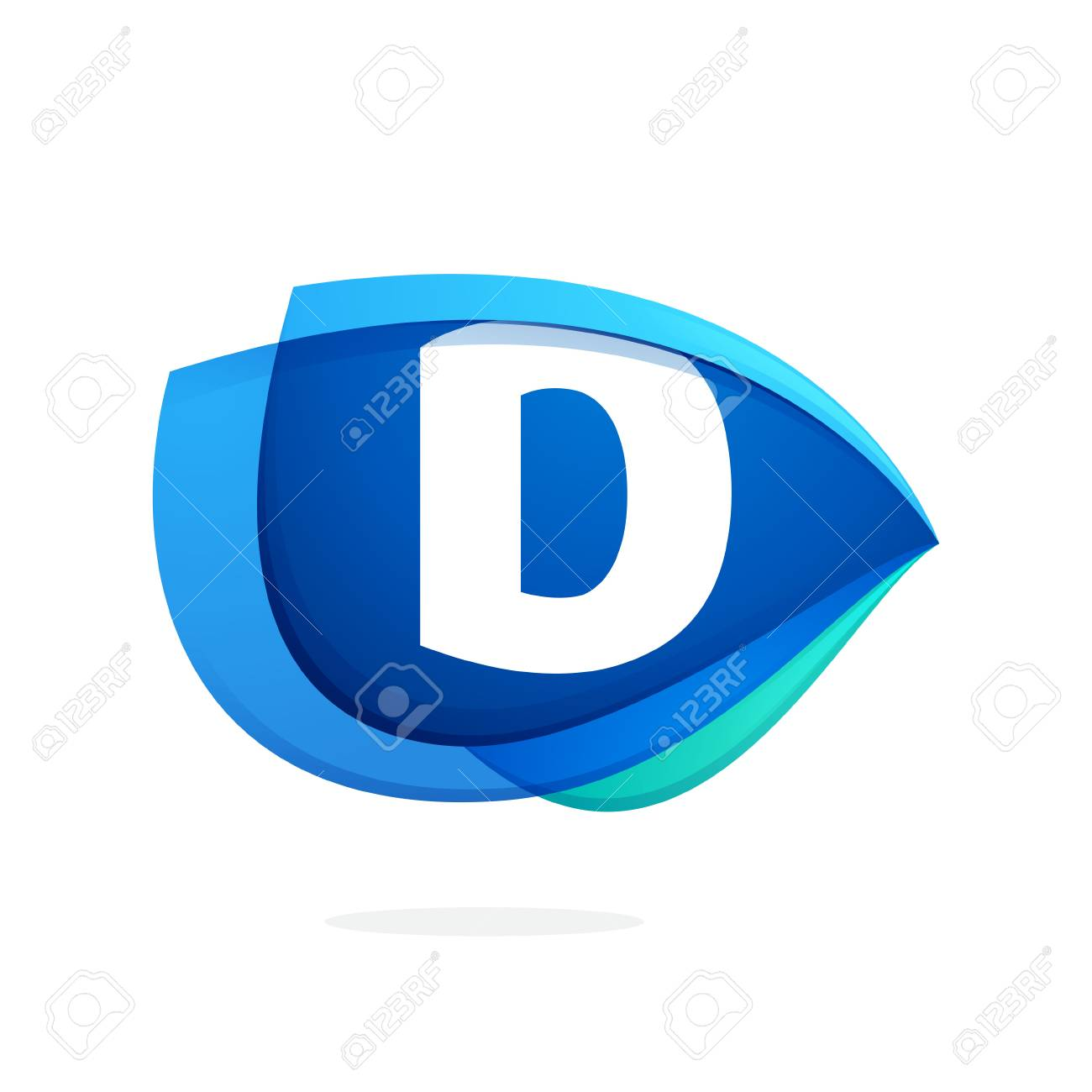 D letter logo with blue wing or eye. Abstract trendy letter multicolored vector design template elements for your application or corporate identity. - 96890218
