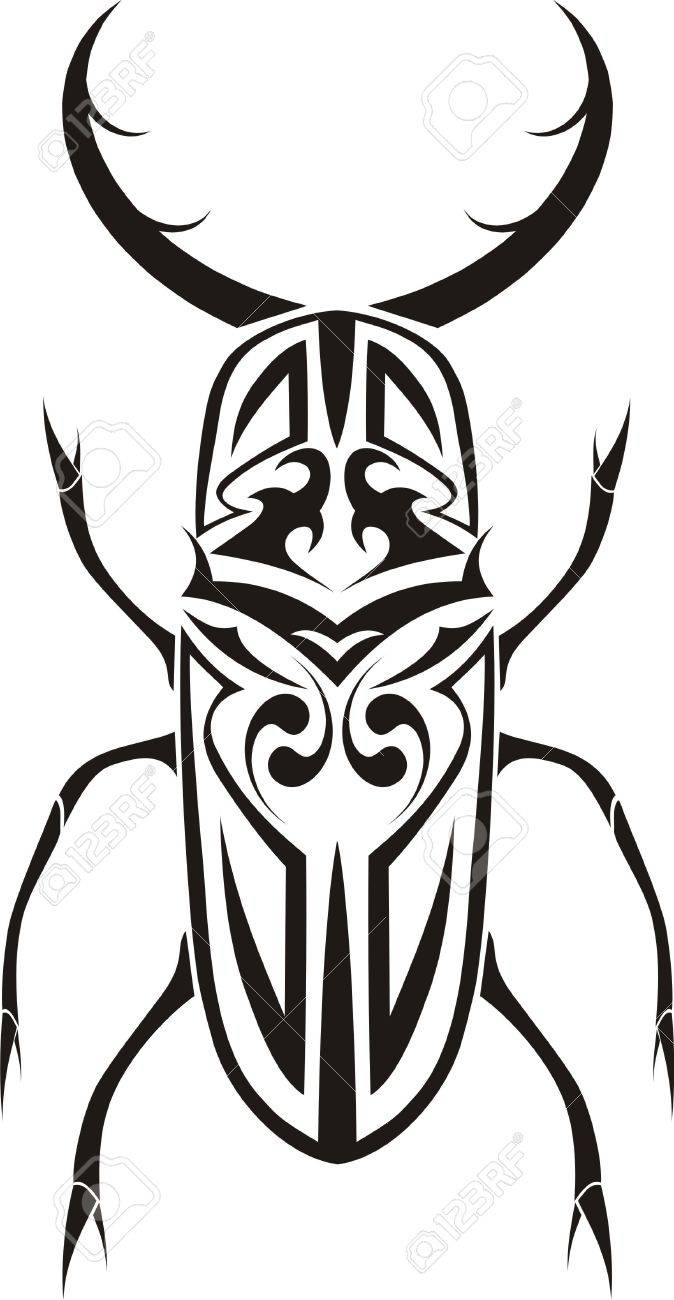 Stag beetle tribal tattoo Stock Photo - 4208961