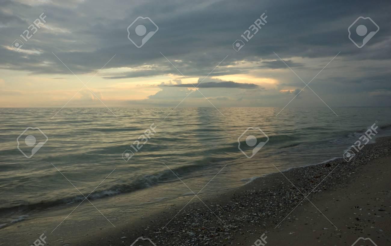 Black Seaside after sunset Stock Photo - 4822255