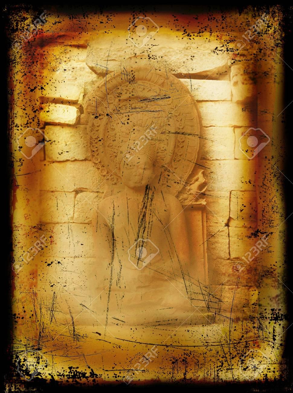 Grunge Buddha burned background Stock Photo - 5515304