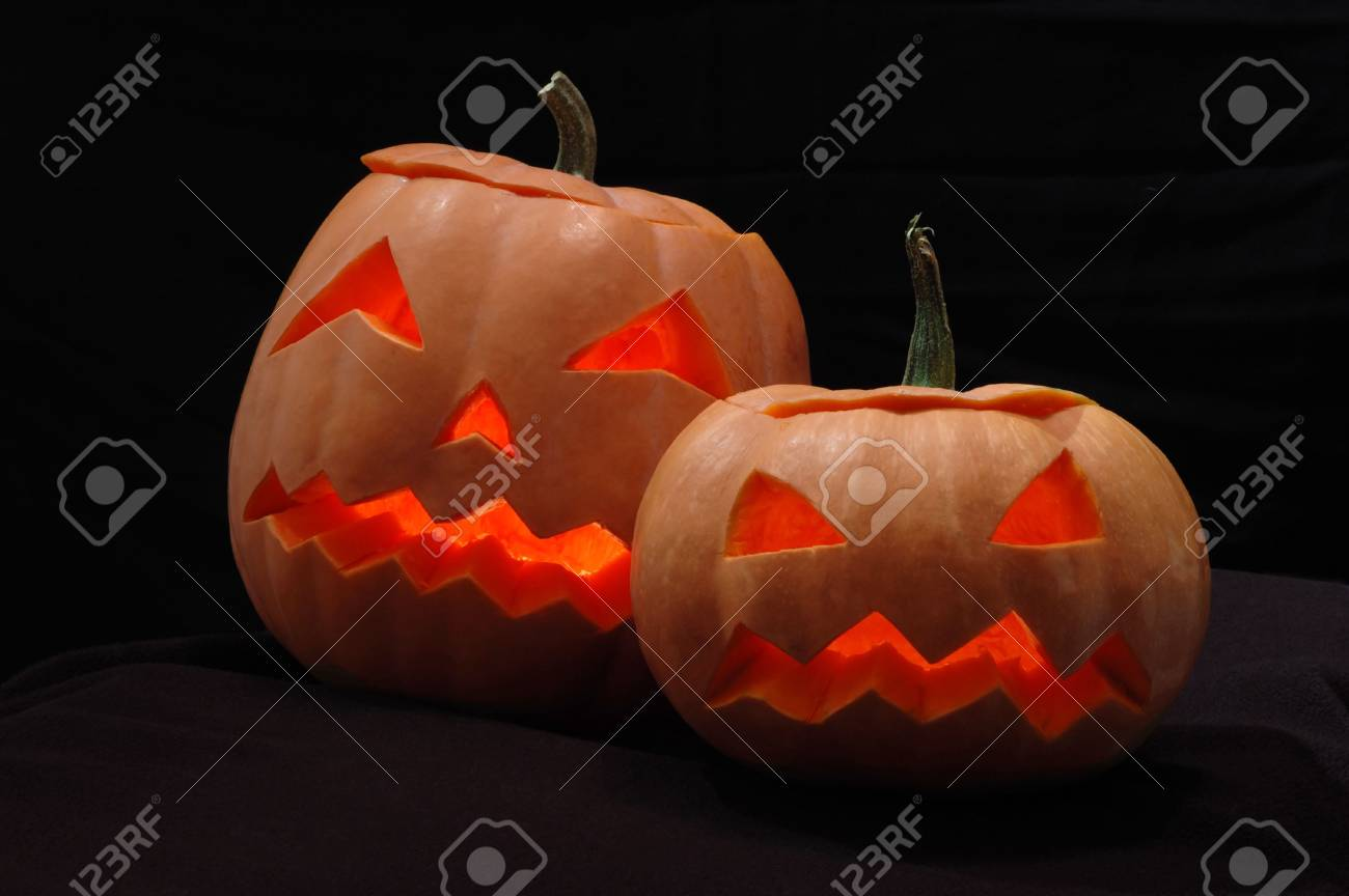 Two halloween pumpkins - Jack O Lanterns Stock Photo - 5782149