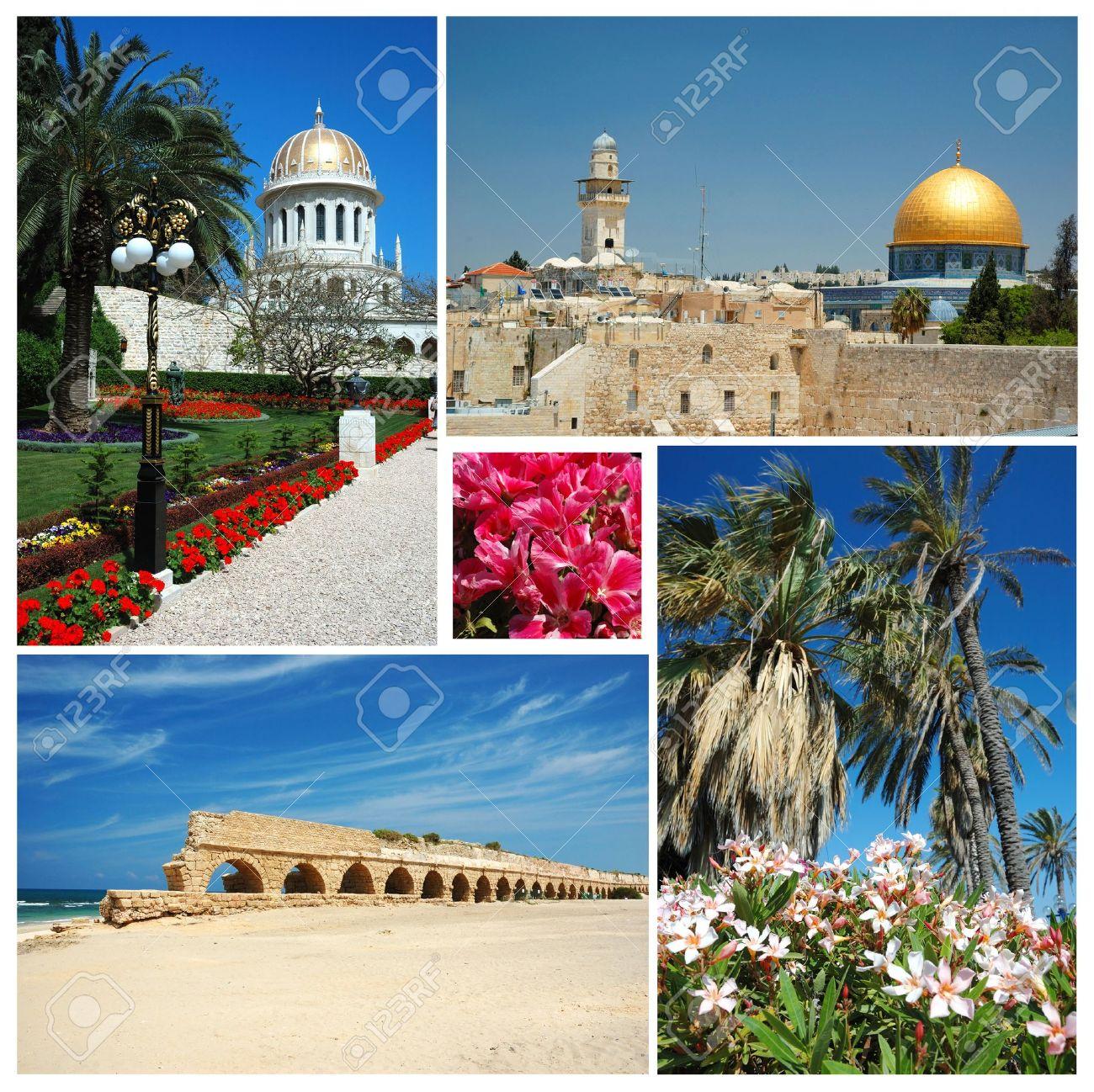 Collage Of Israel Landmarks Old Jerusalembahai Temple At Haifa