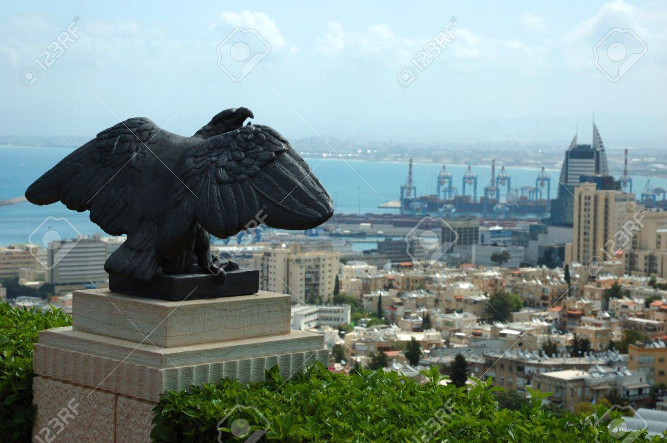 View Of Haifa City And Eagle Statue Israel Stock Photo Picture
