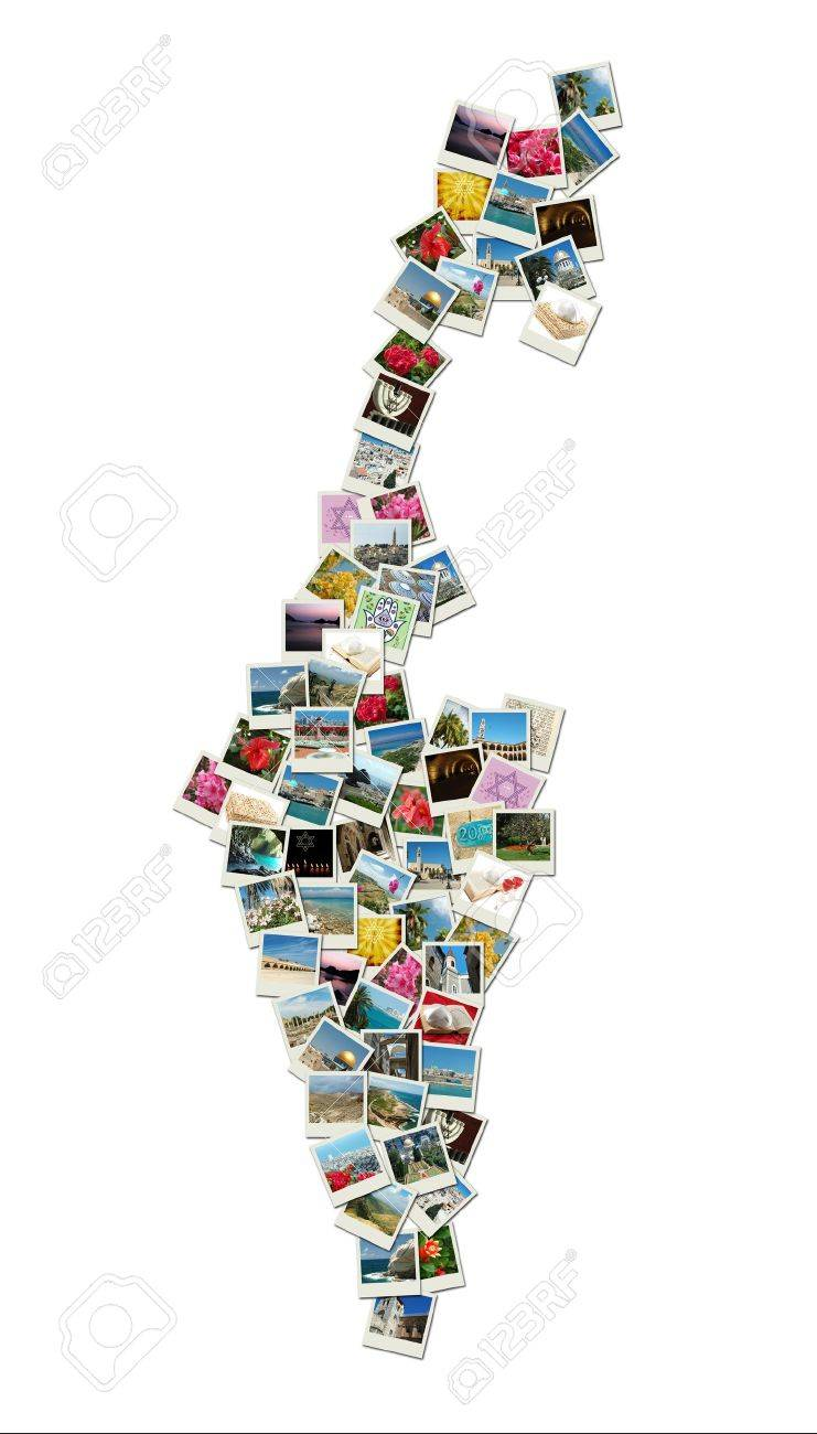 Map of Israel,collage made of travel photos with famous landmarks - western wall,omar mosque,bahai temple Stock Photo - 12008210