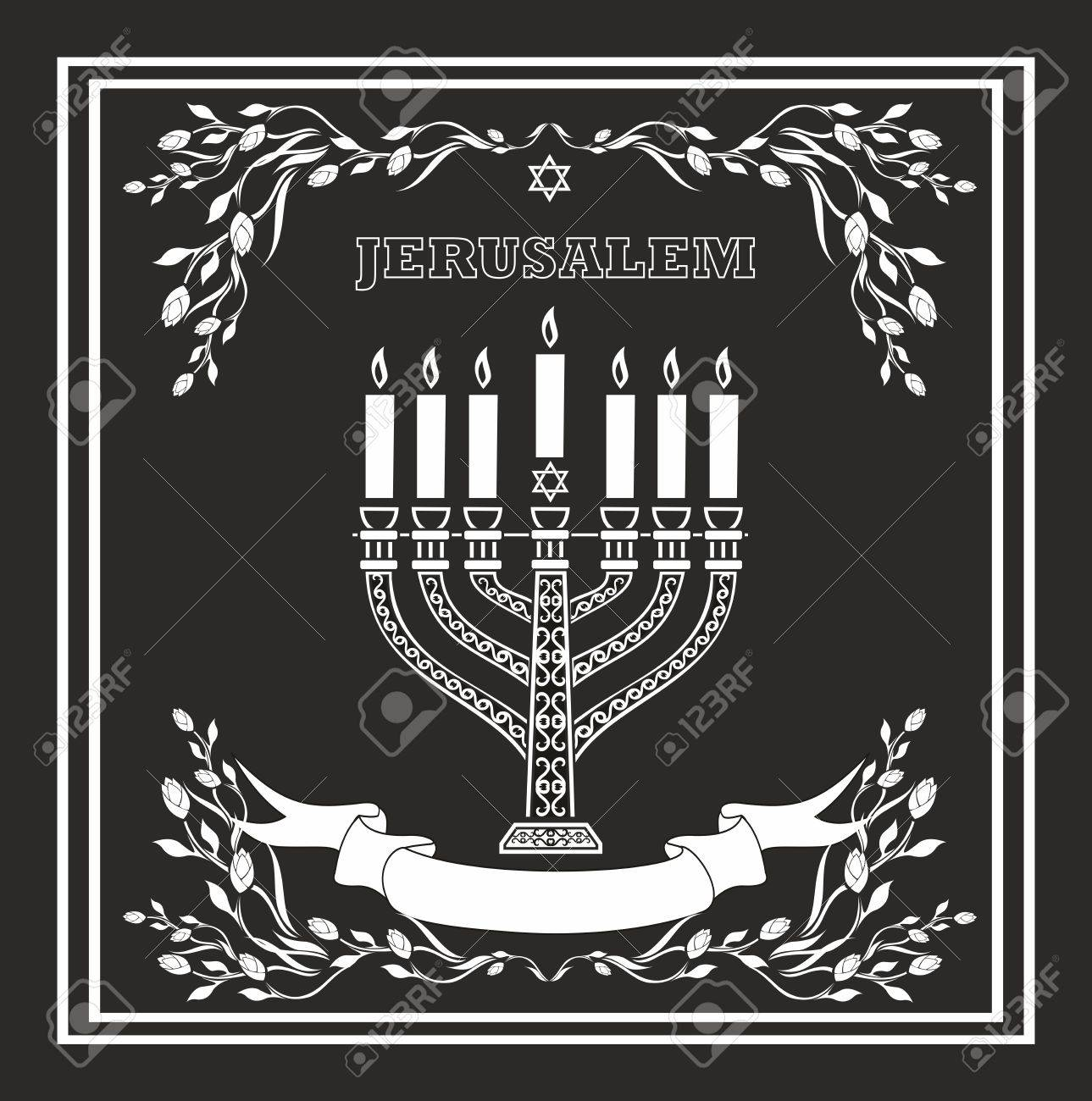 Jerusalem holiday vector background with menorah Stock Vector - 15903566