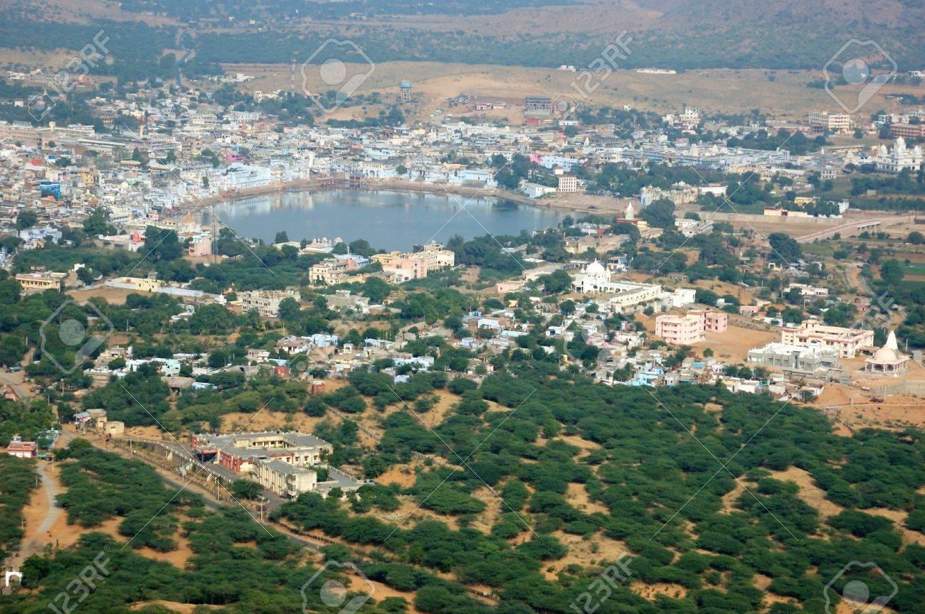 Pushkar View Famous Hindu Pilgrimage Town City Name Means Blue