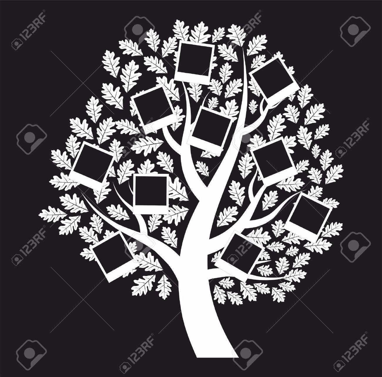 Familia árbol Genealógico Sobre Fondo Negro Ilustraciones