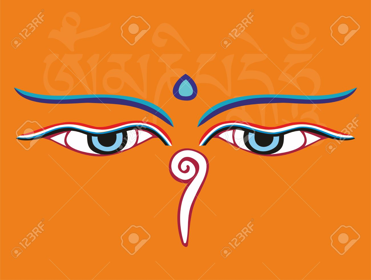 Buddha eyes or Wisdom eyes - holy asian religious symbol, vector illustration Stock Vector - 18456668