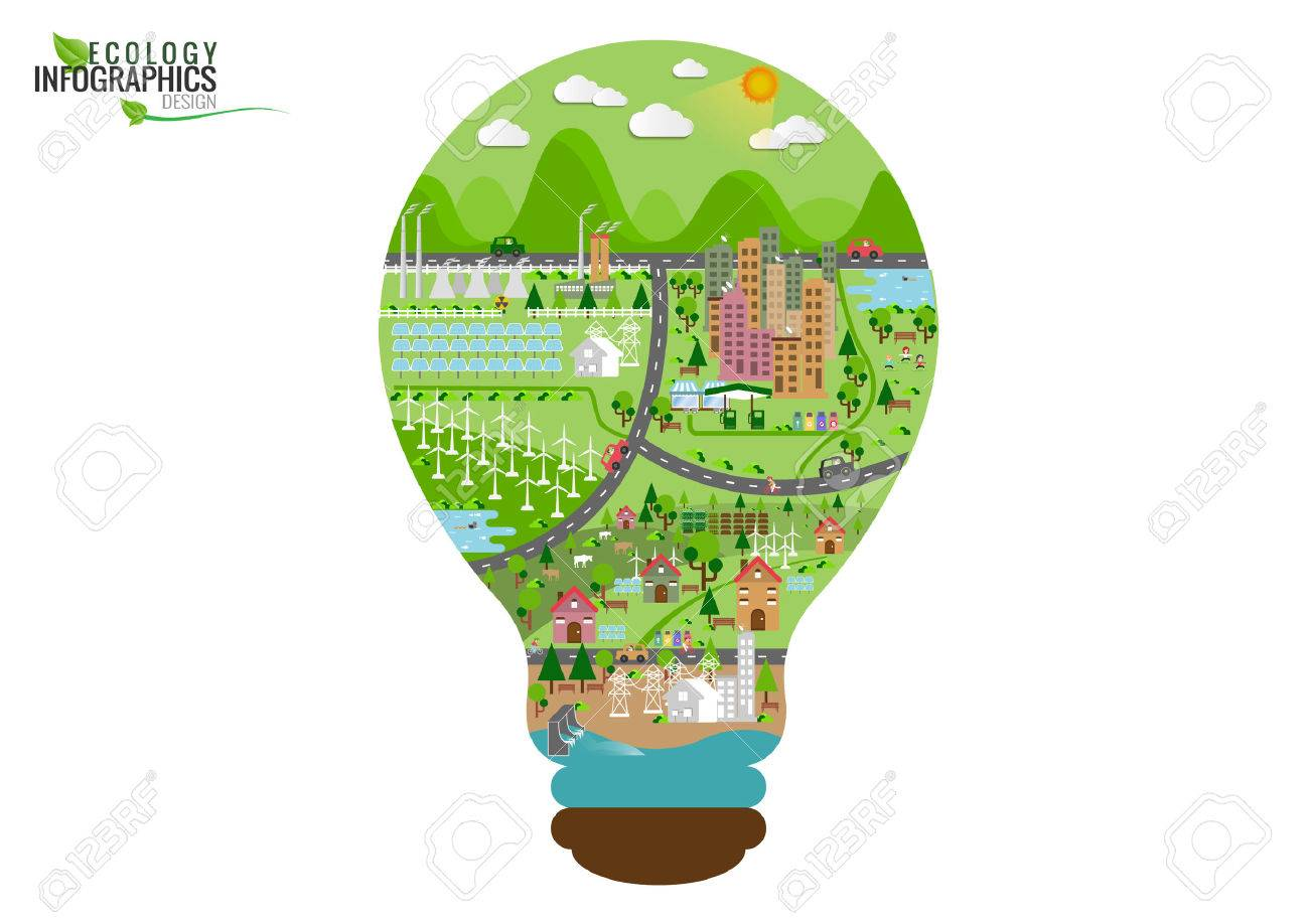 Infographic green ecology city and Renewable energy friendly concept. Vector flat illustrations - 50528089