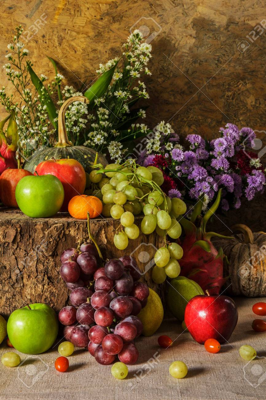 Still Life Fruits Were Placed On The Timber With A Beautiful Stock