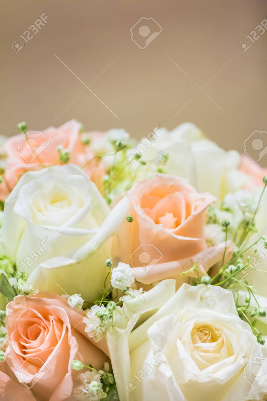 wedding bouquet with roses to use as wallpaper for text input stock