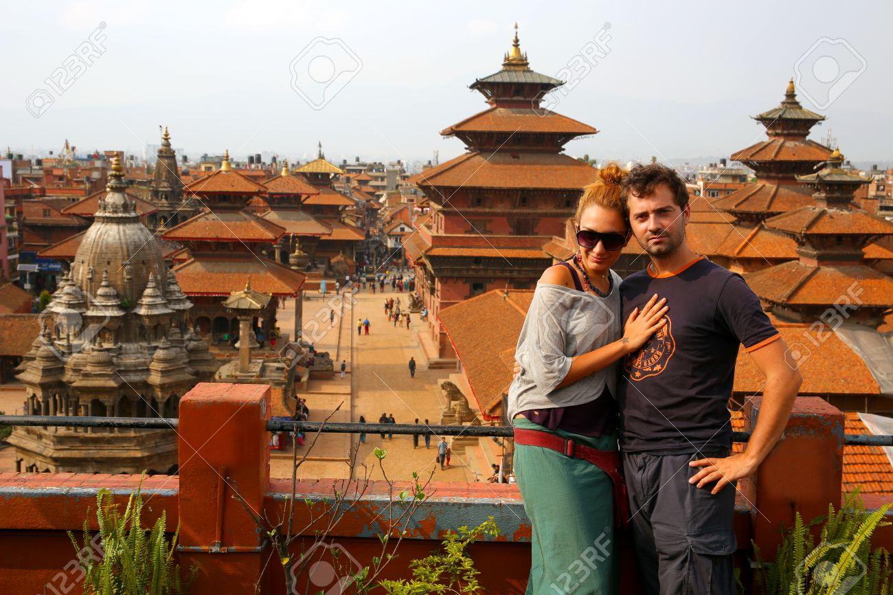 Tourist couple at Patan Square, Kathmandu, Nepal - 23858067