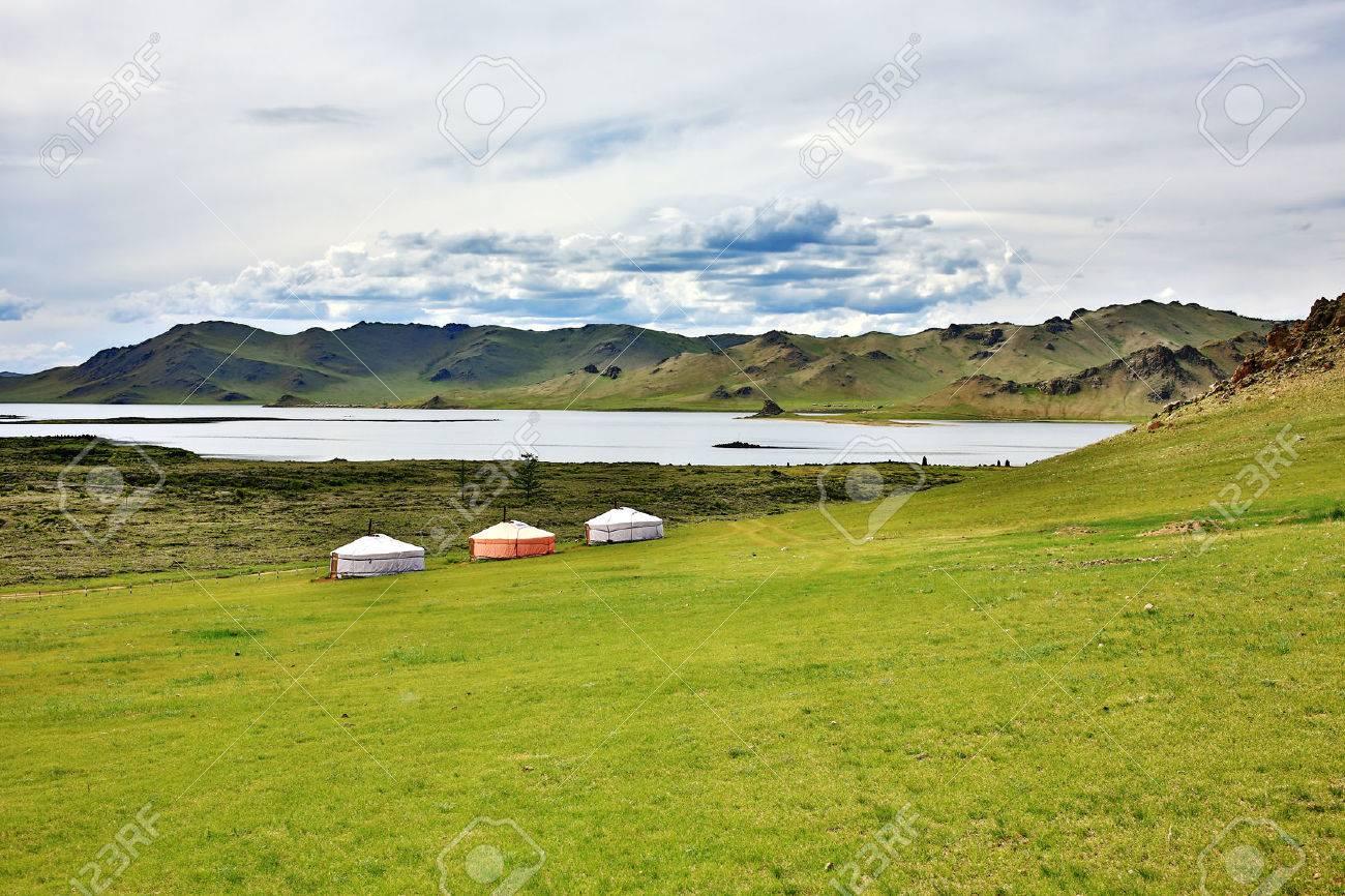 Yurt settlements, Terkhiin Tsagaan Lake, central mongolia - 23485269
