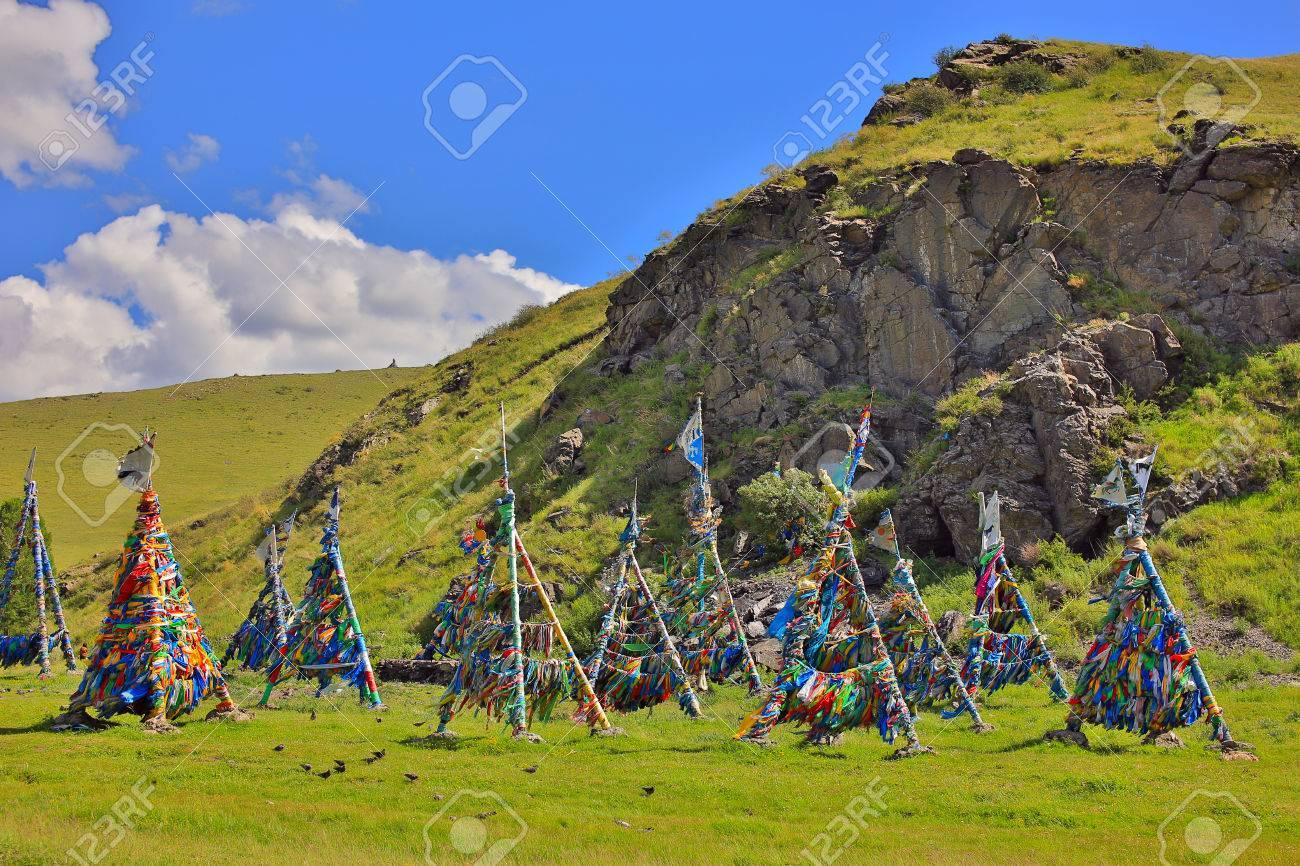 Shaman Adak Tree, prayer's flag, Mongolia - 23485503