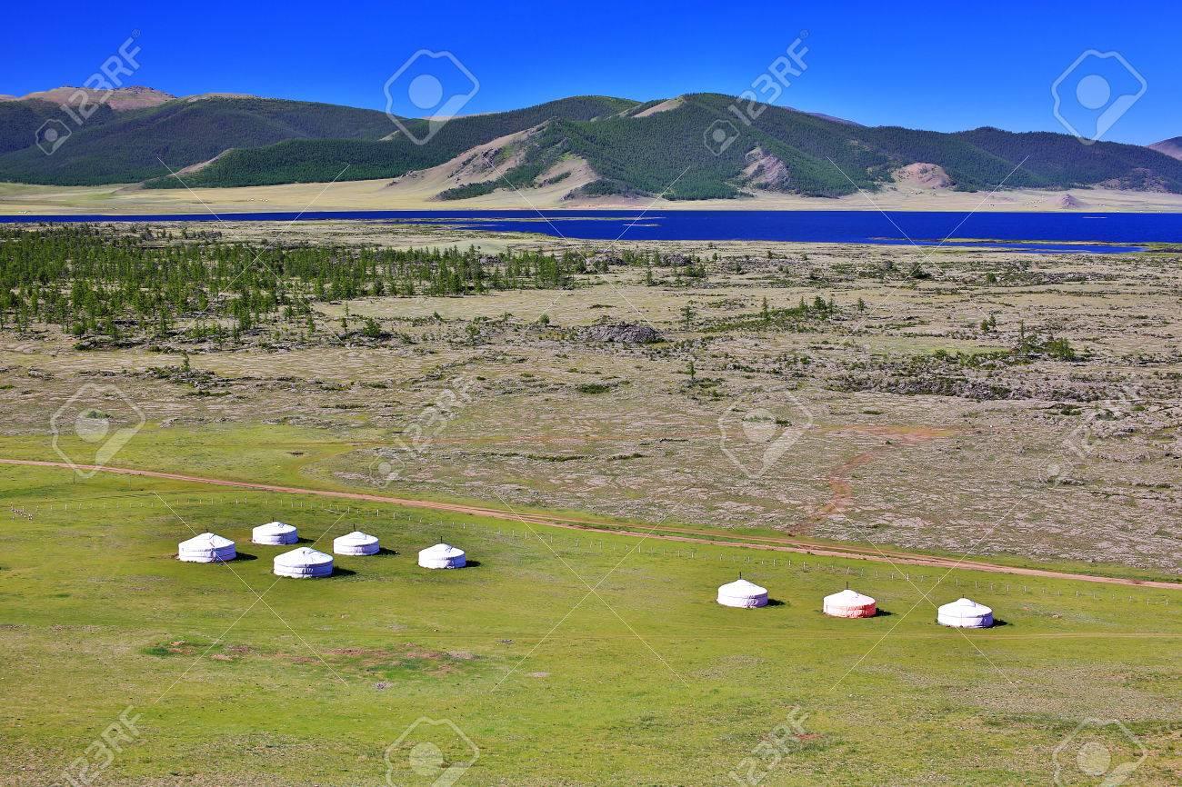 Yurt settlements, Terkhiin Tsagaan Lake, central mongolia - 23485507