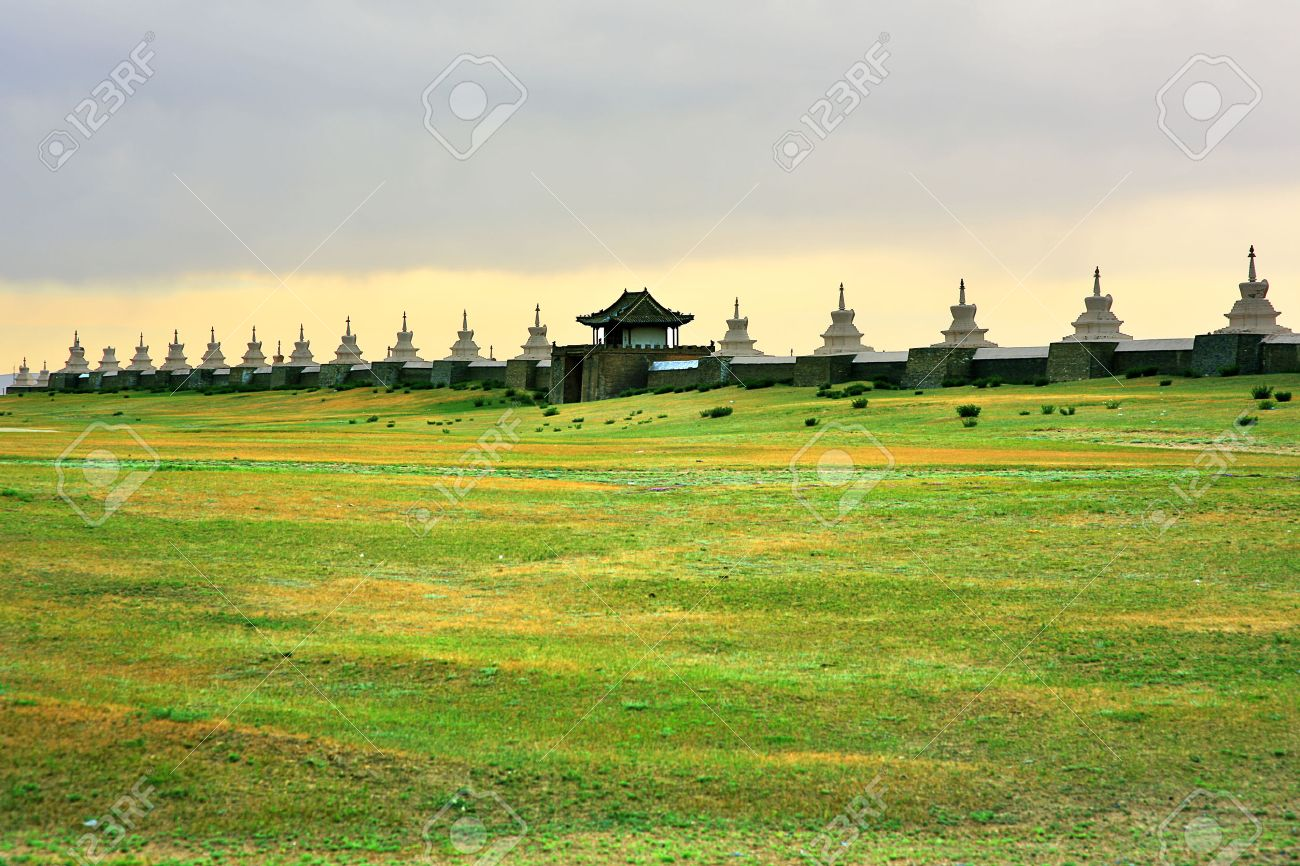 Karakorum city walls, old capital of medieval mongol empire. Walls constructed after Ghengis Khan's death. There is Erdene Zuu Monastery inside. It is located todays Kharkhorin city at Orkhon Valley, Mongolia. - 23485641