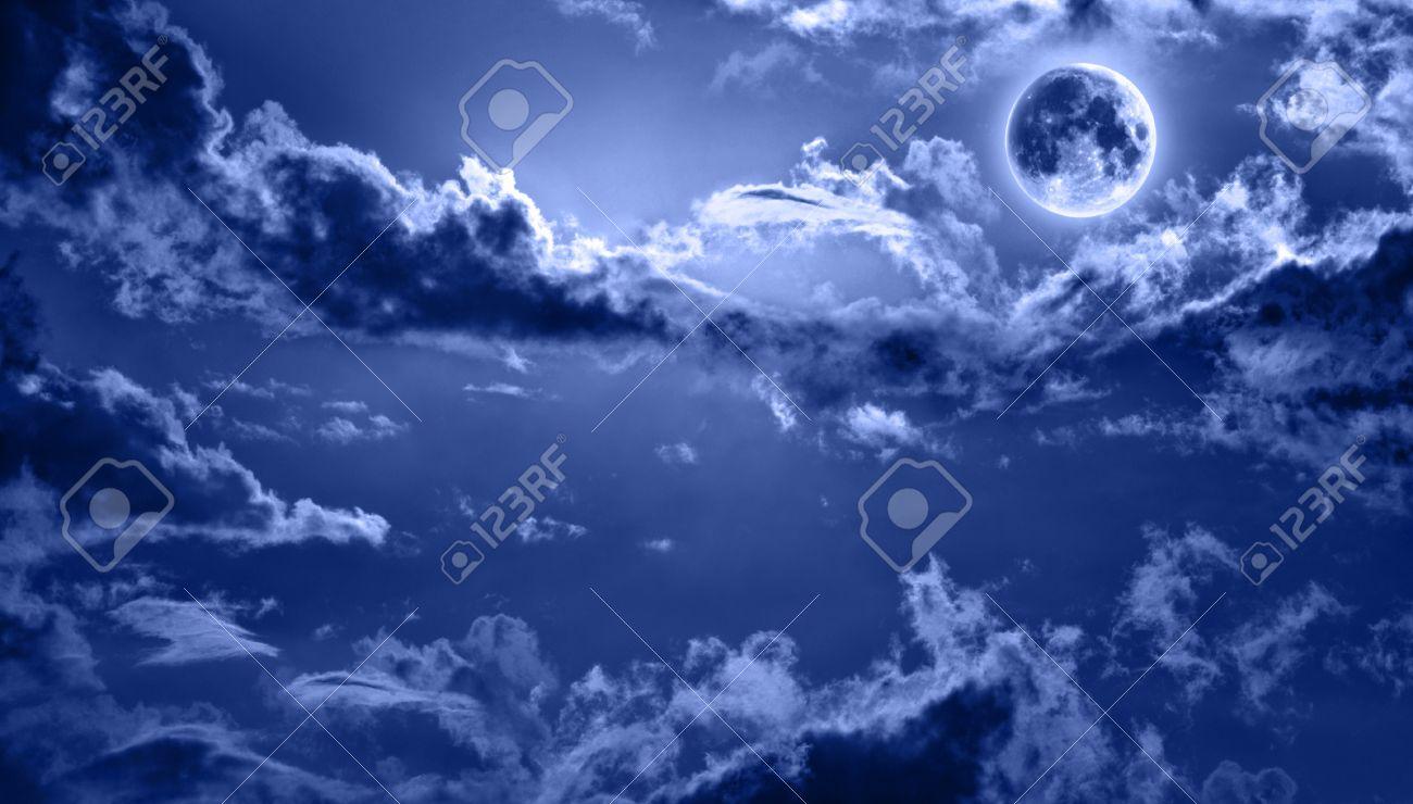 romantic night sky lit by full moon Stock Photo - 9300278
