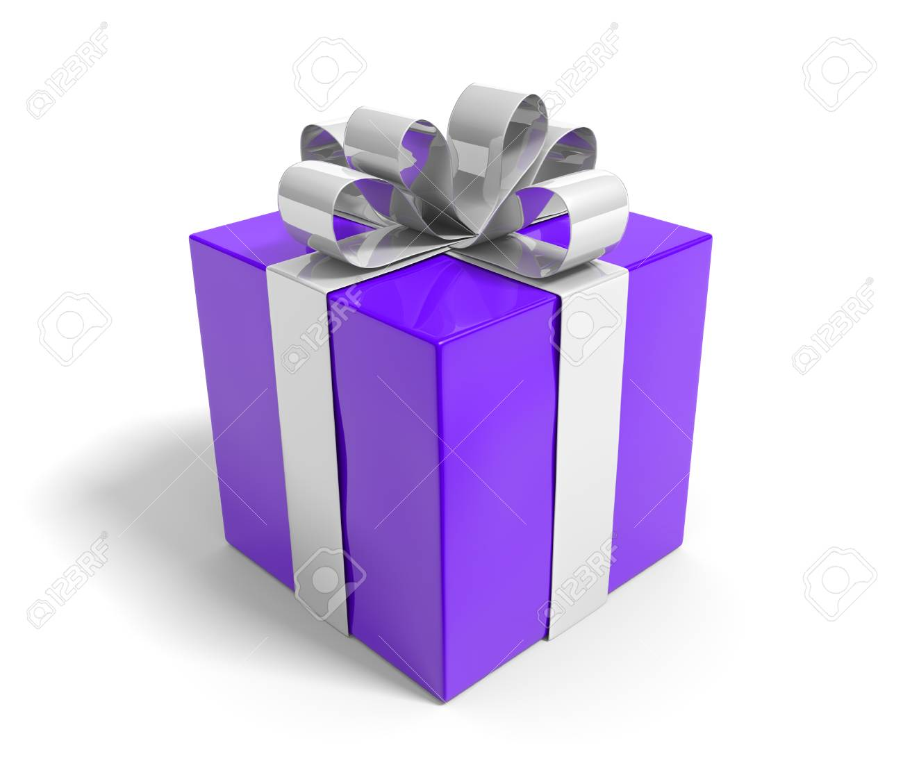 Pretty purple gift box tied with shiny silver ribbons Stock Photo - 34173060  sc 1 st  123RF.com & Pretty Purple Gift Box Tied With Shiny Silver Ribbons Stock Photo ...
