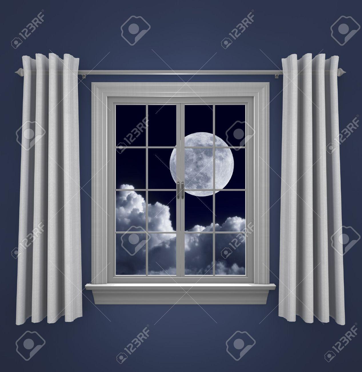 Full Moon In Night Sky Shining Beautifully Through A Bedroom Window Stock  Photo   35968054
