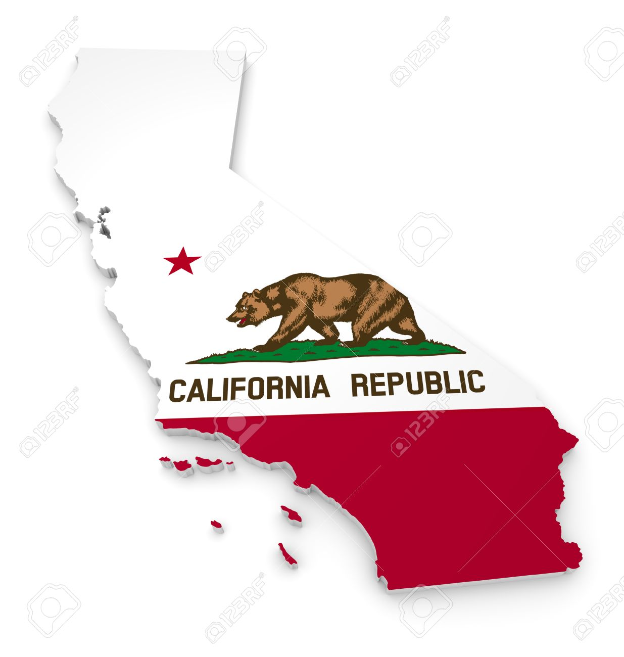 3D Geographic Outline Map Of California With The State Flag Stock Photo