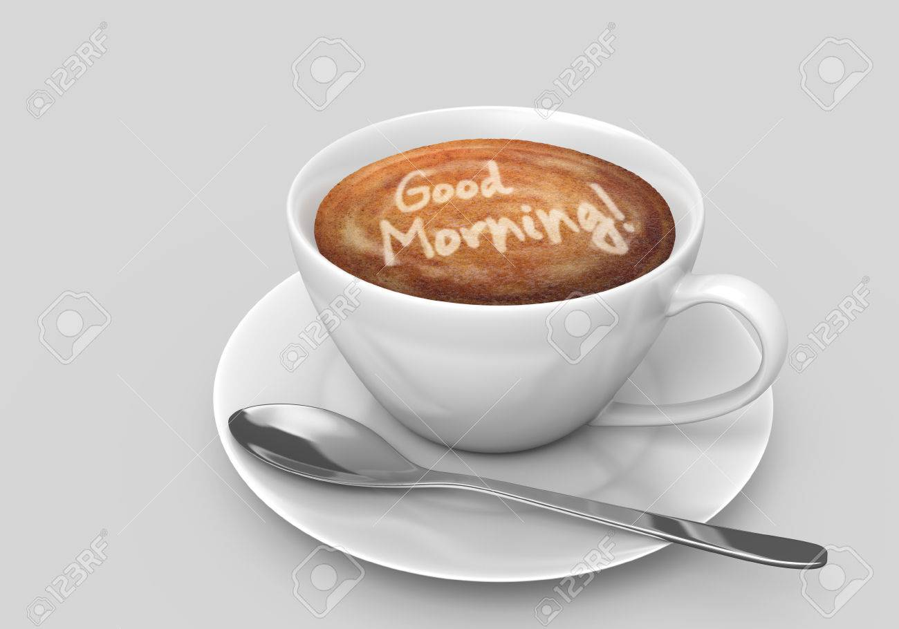 Coffee Cup With A Latte Art Good Morning Message Stock Photo