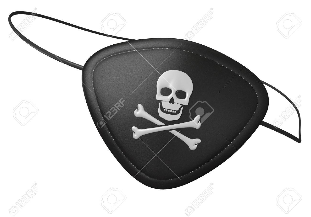 Schwarzes Leder Piraten Augenklappe Mit Einem Unheimlich Schädel Und ...