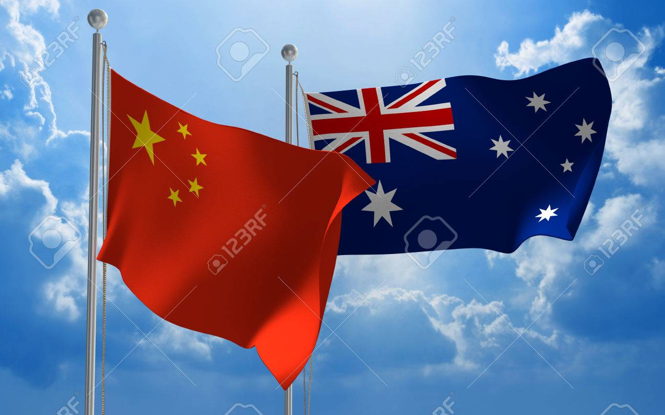 China and Australia flags flying together for diplomatic talks - 44559387