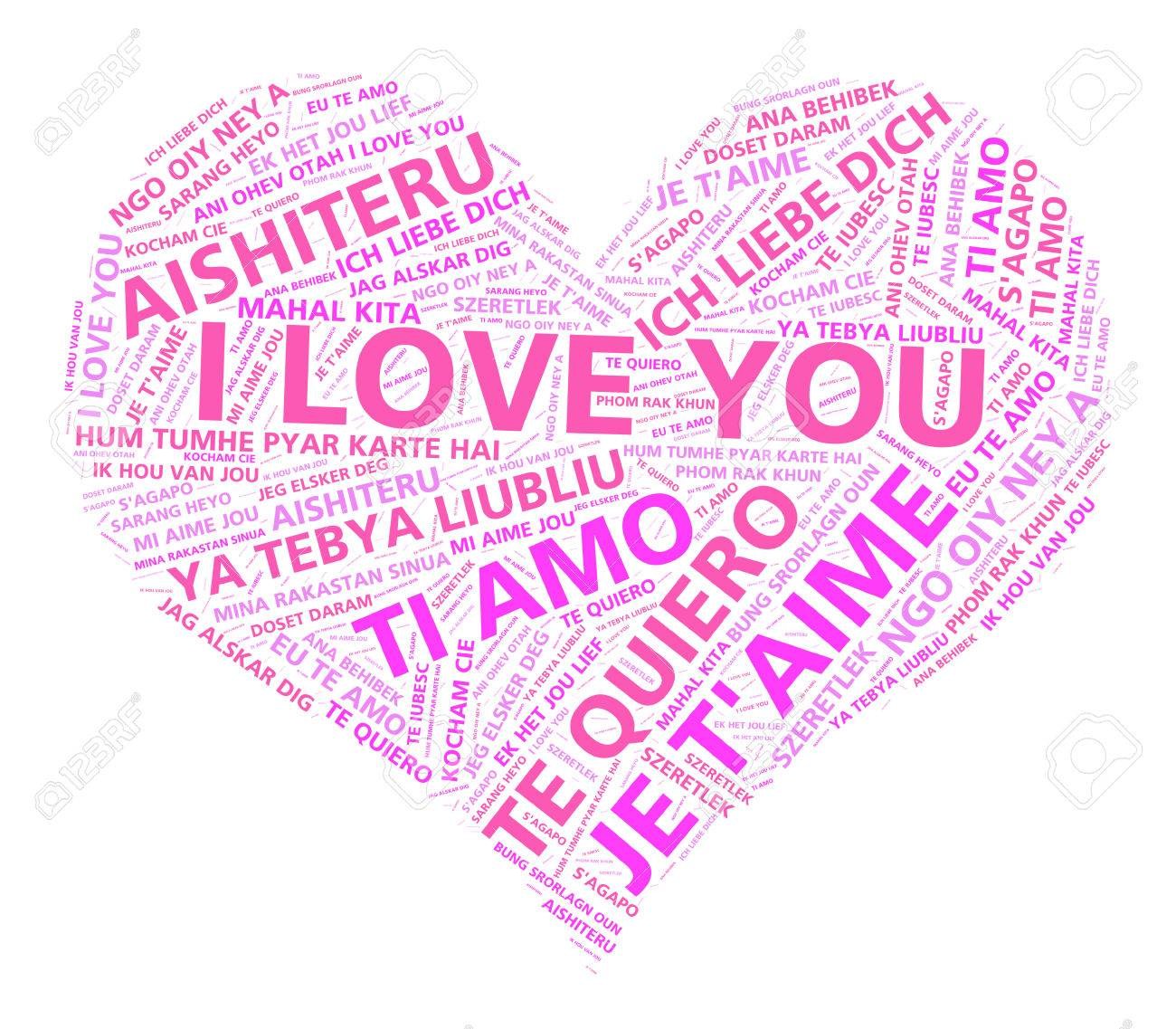 Heart Shape Word Cloud With The Words I Love You In Many Different Languages Stock Photo