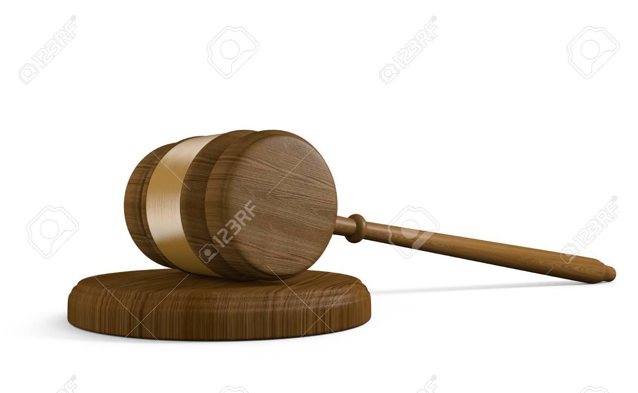 wood court gavel and striking block on white background stock photo