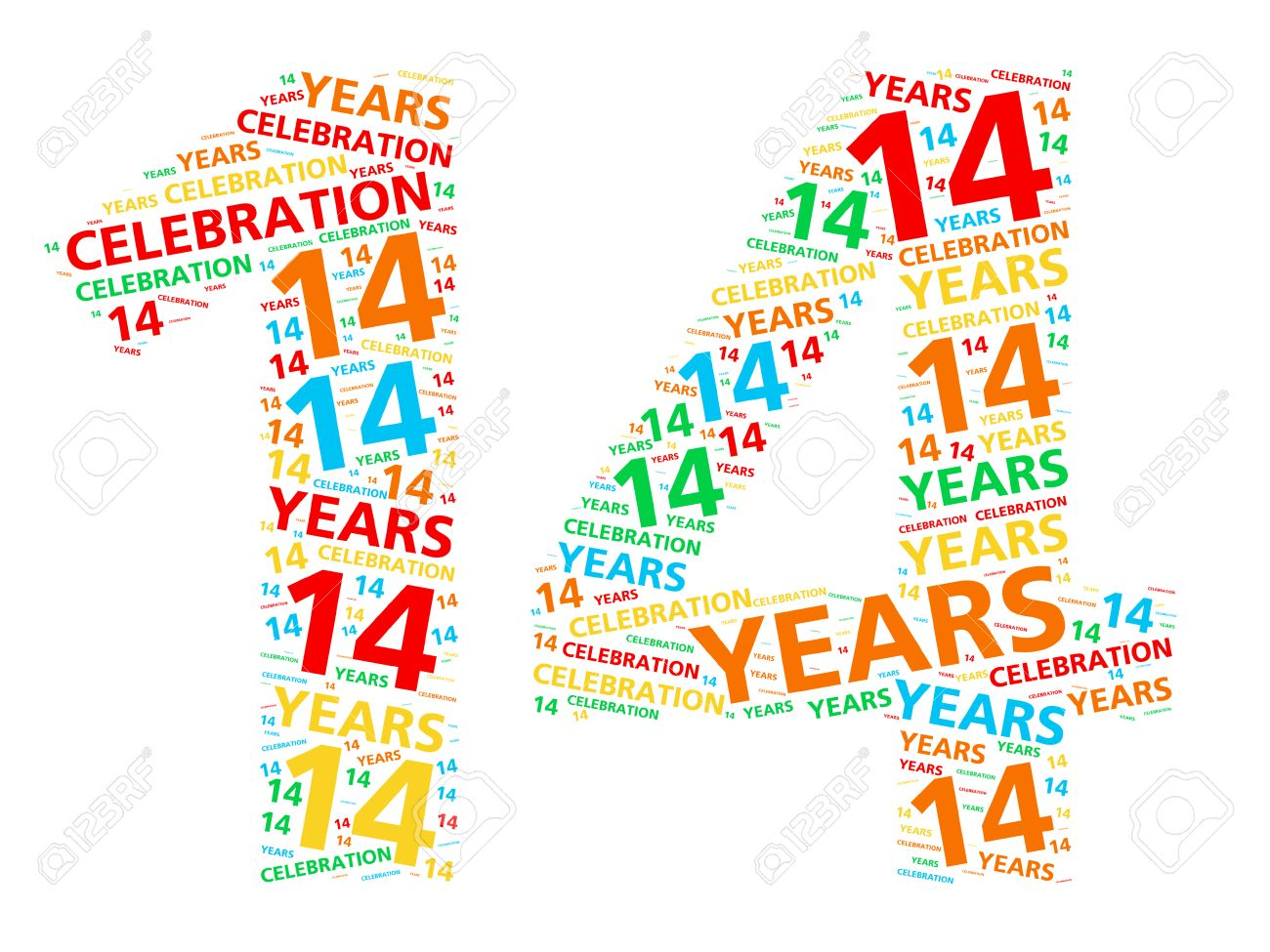 Bunte Wortwolke Für Feiert 14 Jahre Geburtstag Oder Jubiläum