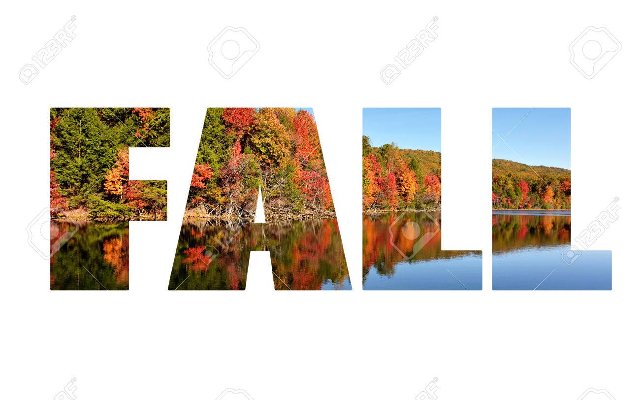 large bold text spelling out the word fall with autumn scenics