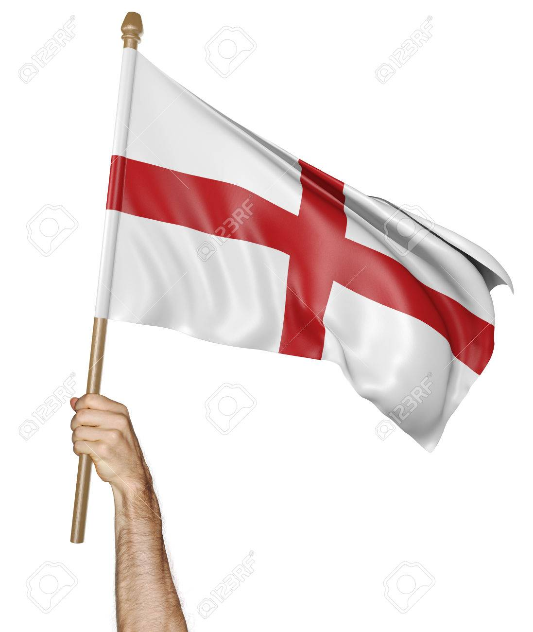 Hand proudly waving the national flag of England - 52232211