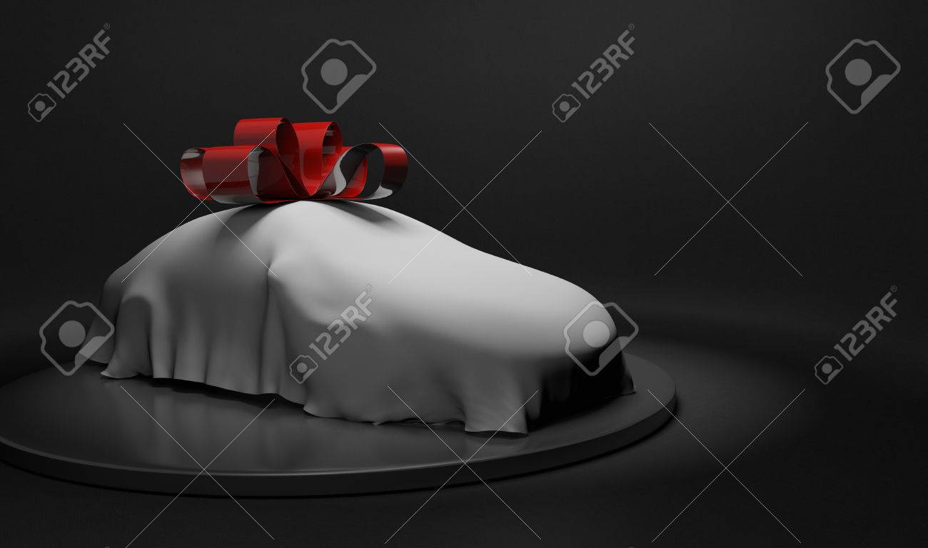3D car wrapped under a sheet and big red bow - 52964650