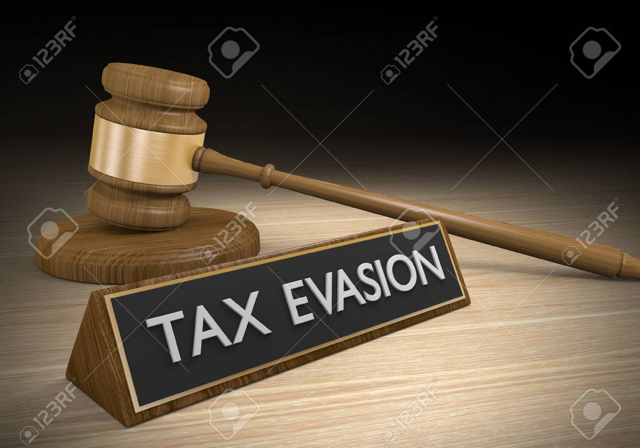 Tax evasion through illegal schemes and breaking laws, 3D rendering - 54906566