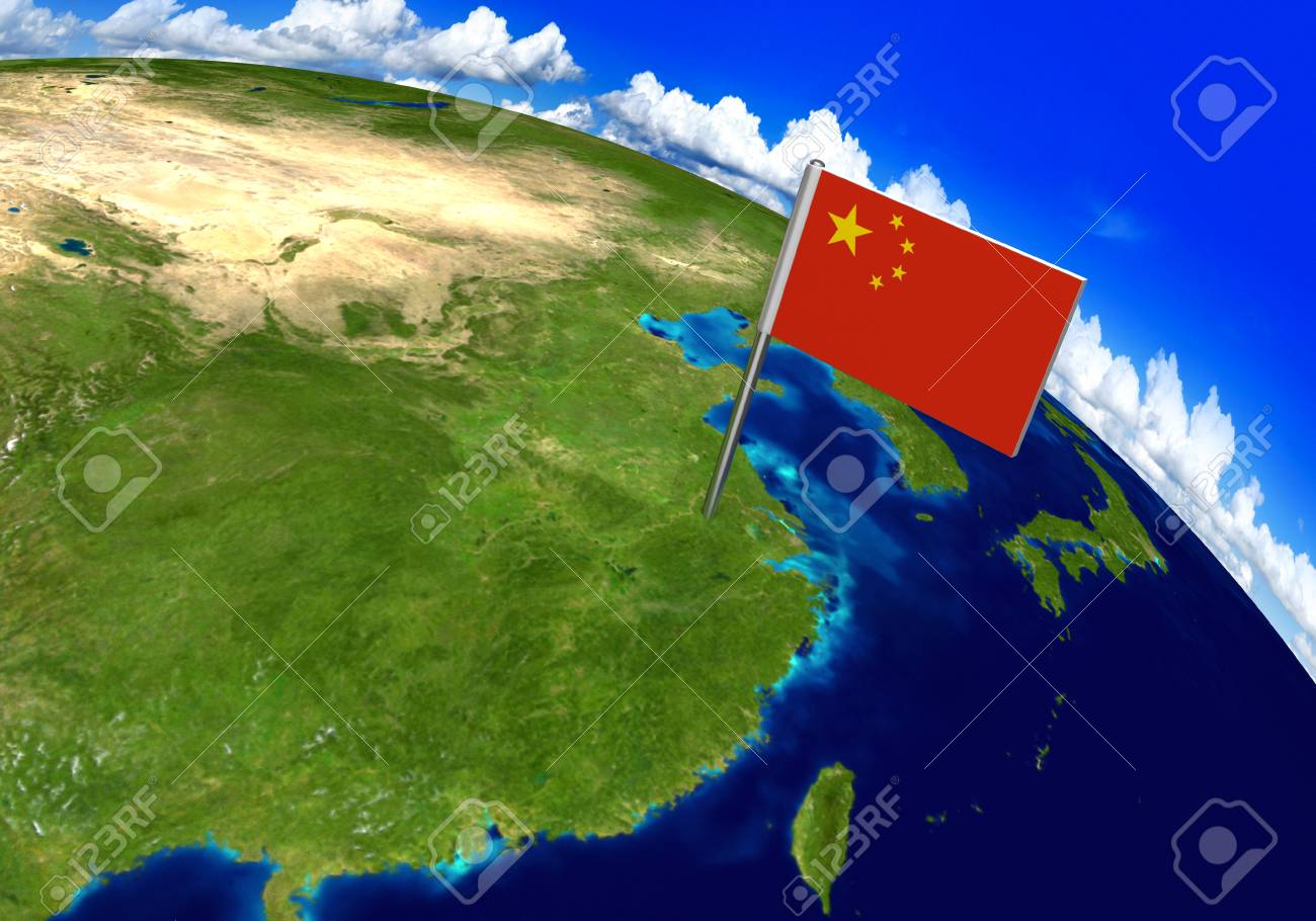 Flag marker over country of china on world map 3d rendering stock flag marker over country of china on world map 3d rendering parts of this image gumiabroncs Gallery