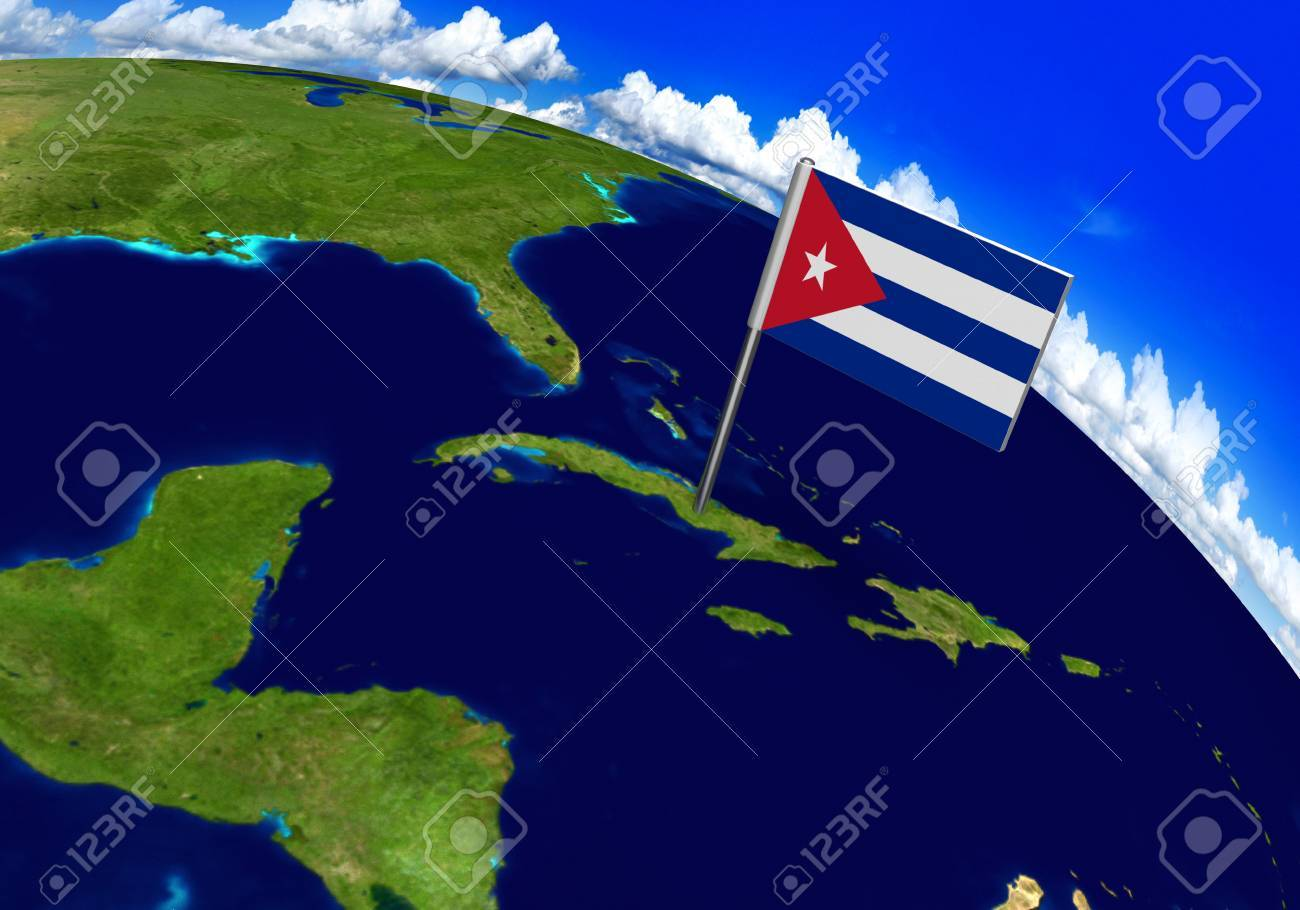 Flag marker over country of cuba on world map 3d rendering parts flag marker over country of cuba on world map 3d rendering parts of this image gumiabroncs Gallery