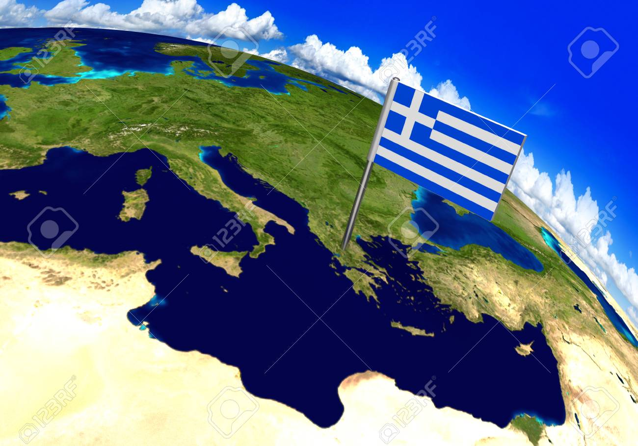 Country Of Greece Map.Flag Marker Over Country Of Greece On World Map 3d Rendering