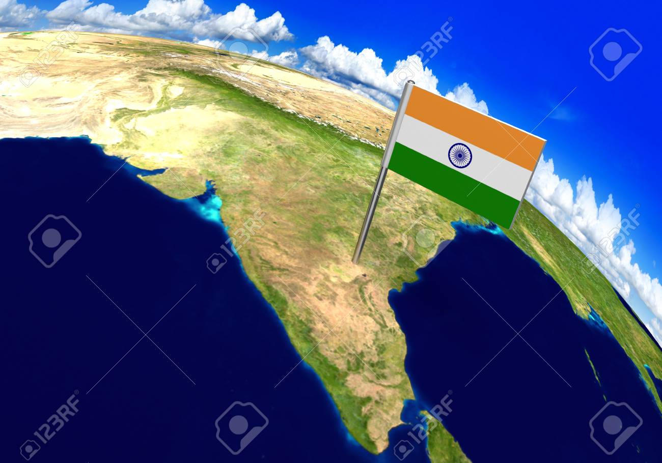 Flag marker over country of india on world map 3d rendering stock flag marker over country of india on world map 3d rendering parts of this image gumiabroncs Choice Image